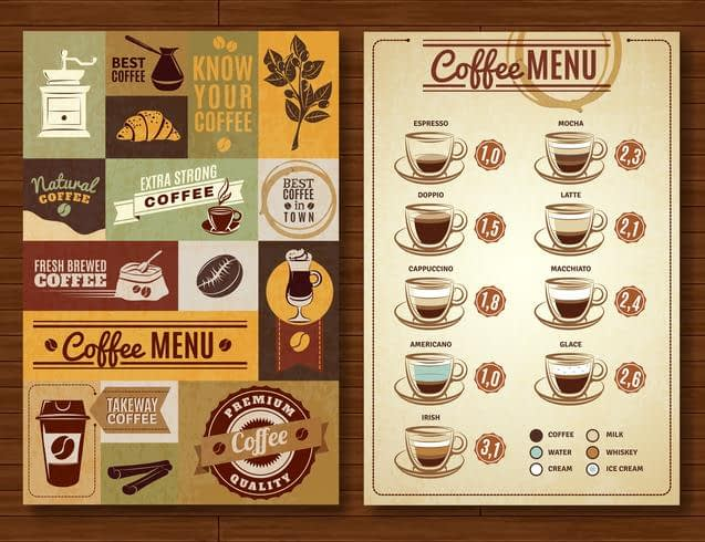 vector vintage coffee menu 2 banners board