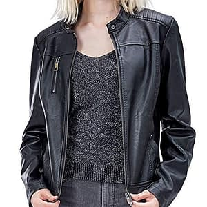 Women's Faux Leather Jackets, Zip Up Motorcycle Short PU Moto Biker Outwear Fitted Slim Coat