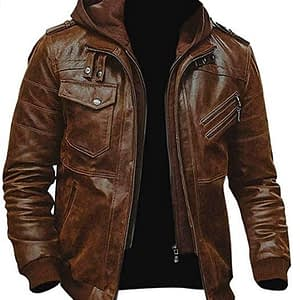 Men's Slim Fit Bomber Hoodie Vintage Brown Biker Leather Jacket
