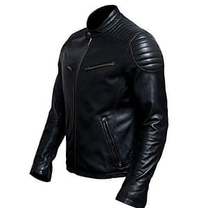 Men Cafe Racer Lambskin Black Leather Motorcycle Biker Jacket