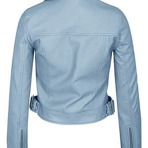 Women's Faux Leather Zip Up Everyday Bomber Jacket (Sky Blue)
