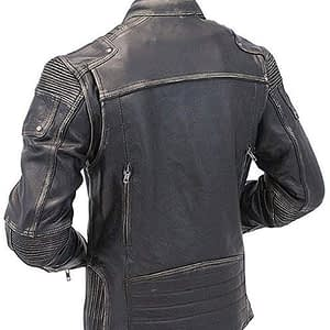 Vintage Motorcycle Cafe Racer Men Biker Distressed Leather Jacket Black