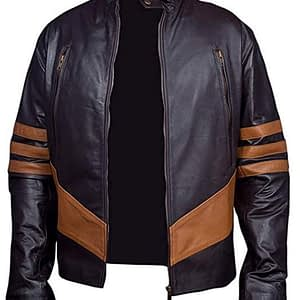 Cafe Racer Logan Wolverine Retro Biker Style Brown Leather Jacket