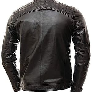 Moto Biker Vintage Shade Black Cafe Racer Quilted Motorcycle Real Lambskin Leather Jacket