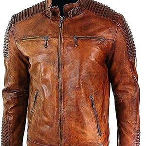 Men's Vintage Brown Biker Rider Leather Jacket – Cafe Racer Jacket