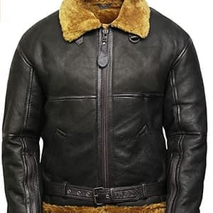 VearFit Bomber Royal Shearling Flying Aviator Black Designer Real Leather Jacket for Men