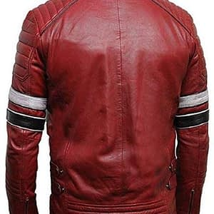 Maroon Retro Leather Jacket Men