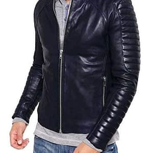 Lambskin Men's Biker Short Zipper Leather Jacket for Winter Cover Ups (Black)