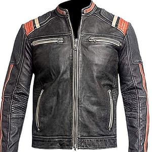 Men Vintage Biker Retro 3 Motorcycle Distressed Leather Jacket Cafe Racer Moto Black