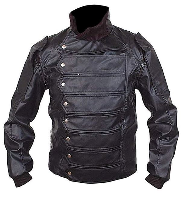 Men Stylish Bucky Barnes Winter Soldier Sebastian Stan Black Leather Jacket with Removable Sleeves