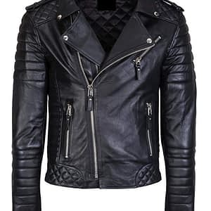 Mens Lambskin Quilted Biker Genuine Black Leather Slim Fit Jacket