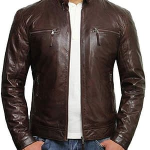 Cafe Racer Real Lambskin Leather Distressed Motorcycle Jacket