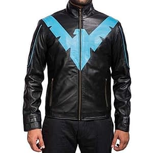 NightWing Batman and Robin Black Blue Costume Leather Jacket