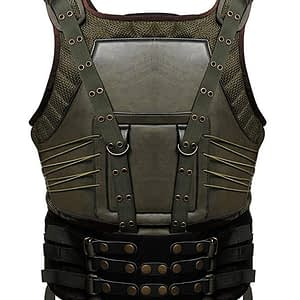 Bane Dark Knight Rises Tom Hardy Green Military Army Tactical Leather Vest Jacket