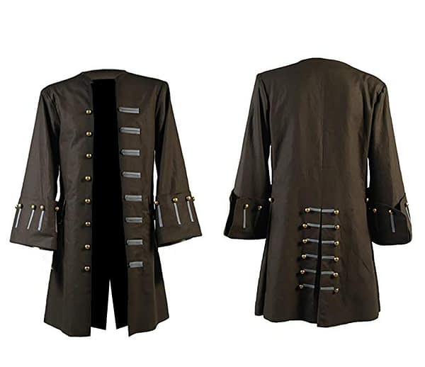 Captain Jack Sparrow Pirates Of The Caribbean 5 Johnny Depp Cosplay Brown Costume Trench Coat Jacket