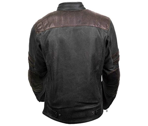 Retro Scorpion Classic Black Biker Cafe Racer Style Real Leather Jacket