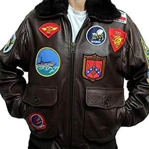 Top Gun Tom Cruise Brown A2 Jet Fighter Bomber Genuine Biker Leather Jacket