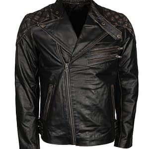 Mens Exclusive Skull Distressed Brown Real Leather Biker Jacket