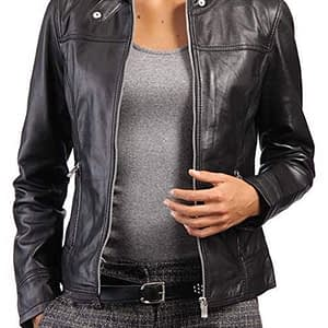 Women Genuine Lambskin Leather Slim Fit Cafe Racer Black Jacket Biker Coat