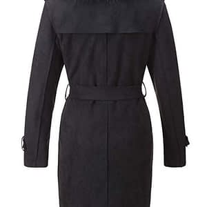 Womens Faux Suede Long Trench Coat with Detachable Faux Fur Collar