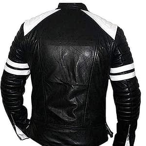 Mens Fight Club Retro Black and White Vintage Lining Leather Biker Jacket