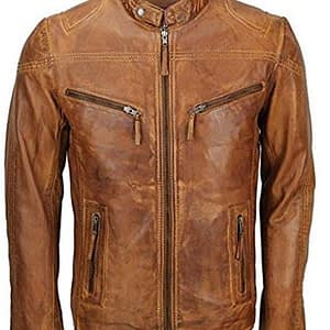 Mens Vintage Smart Fitted Biker Cafe Racer Casual Leather Tan Brown Jacket Coat