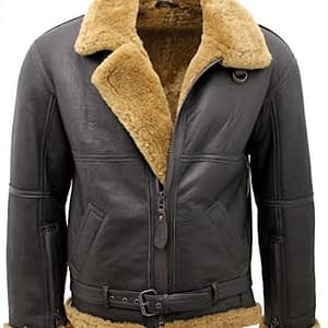 Men's Brown RAF Real Shearling Sheepskin Flying Leather Jacket with Ginger Fur