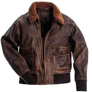 III-Fashions A-2 Air Force Aviator Flight Pilot Military Distressed Brown Bomber Leather Jacket