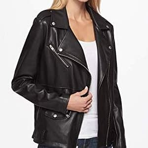 Women's Oversized Faux Leather Belted Motorcycle Jacket