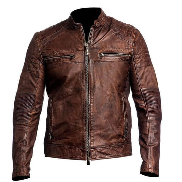 Vintage Cafe Racer Waxed Brown Leather Jacket