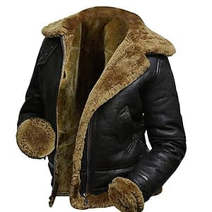 B3 Fur Womens Genuine Leather Aviator Flight Faux Fur Shearling Bomber Jacket Hoodie Black