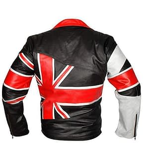 UK Flag Union Jack Cafe Racer Brando Vintage British Biker Leather Jacket