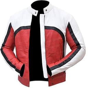 Stylish RED and White Faux Leather Jacket