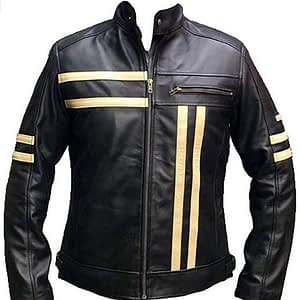 Mens Cafe Racer Black Vintage Biker Classic Motorcycle Retro Yellow Stripe Leather Jacket