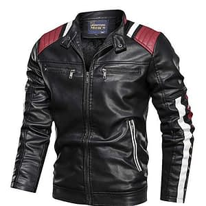 Baseball Coat Vintage Stand Collar Zip Motorcycle Biker Bomber Jacket