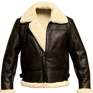 B3 Brown Bomber WWII Real Cowhide Leather Flight Aviator Jacket with Faux Shearling