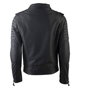 Mens Black Leather Jacket Genuine Lambskin Motorcycle Biker Jacket MJ001