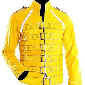 Men's Freddie Mercury Concert Queen Yellow Synthetic Jacket