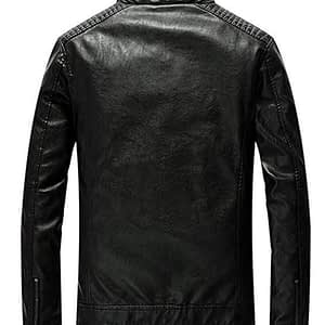 Men's Vintage Casual Stand Collar Pu Leather Jacket