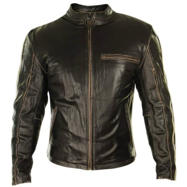 Brown Retro Vintage Cafe Racer Stripes Slim FIT Real Leather Jacket
