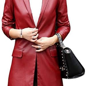 Womens Casual Lapel Long Red Leather Jacket Suit Coat Windbreaker Trench Coat