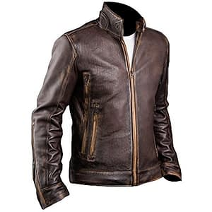 Cafe Racer X Men Vintage Motorcycle Distressed Brown Biker Leather Jacket