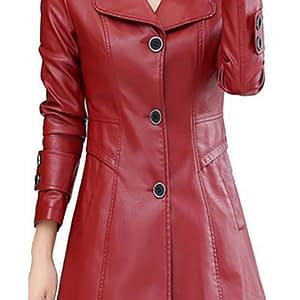 Fashion Solid Single-breasted Red Leather Jacket Trench Coat For Women