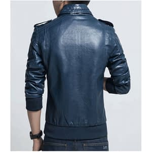 New Blue Mens Biker Leather Jacket