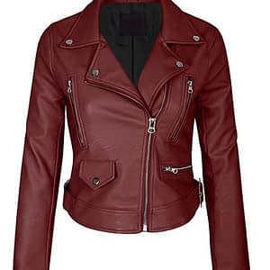 Women's Faux Leather Zip Up Everyday Bomber Jacket (Maroon)