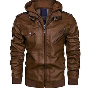 Men's Leather Jacket-Fall Winter Vintage Motorcycle Biker Jacket with Removable Hood