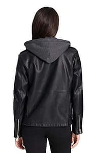 Women's Faux Leather Oversized Hooded Motorcycle Jacket