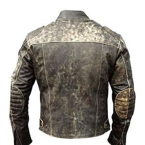 Men's Retro Vintage Black Distressed Real Leather Motorcycle Jacket | Men's Biker Leather Jacket