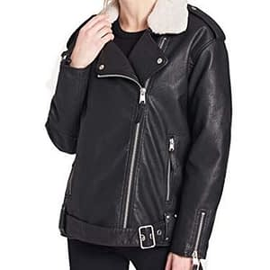 Women's Faux Leather Oversized Sherpa Lined Motorcycle Jacket
