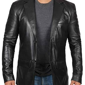 Men's Casual Black Leather Coat Jacket